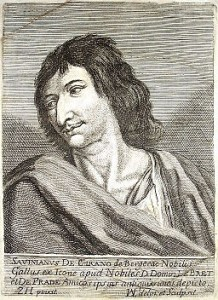 A portrait of the historical Cyrano de Bergerac.