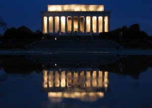 The Lincoln Memorial at night.  Photo courtesy of Wikimedia Commons.